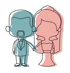 Cute cartoon wedding couple holding hand vector
