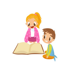 cute little kids sitting on the floor and reading vector image