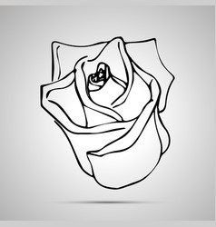 cute outline rosebud simple black icon vector image