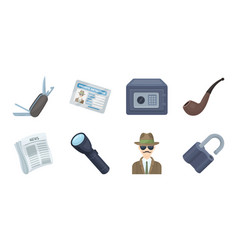 detective and attributes icons in set collection vector image