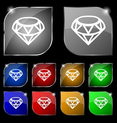 Diamond Icon sign Set of ten colorful buttons with vector image