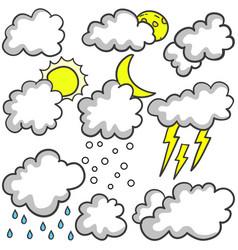 Doodle of weather set cloud various vector