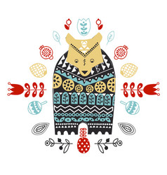 doodle style ornamental hand drawn owl vector image