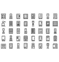 drink machine icons set outline style vector image