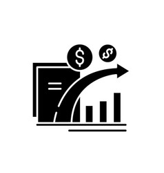 Dynamics of financial growth black icon vector