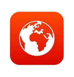 earth globe icon digital red vector image