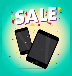 flat smartphone and tablet isolated cartoon vector image