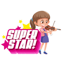 Font design for word superstar with girl playing vector