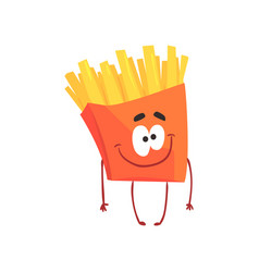 funny french fries cartoon fast food character vector image