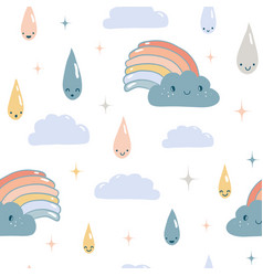 funny weather seamless pattern vector image