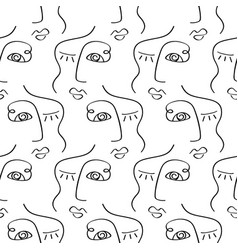 glamour one line drawing faces seamless pattern vector image