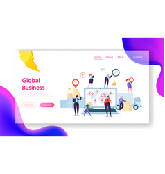 Global logistic business team landing page vector