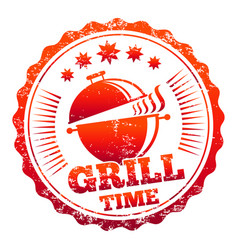 Grill time label design vector