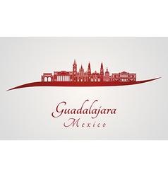Guadalajara skyline in red vector