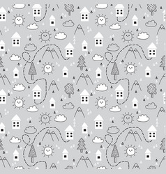 Hand drawn tribal seamless pattern with cartoon vector