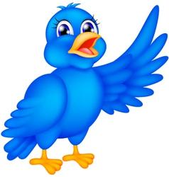 happy blue bird waving wings vector image