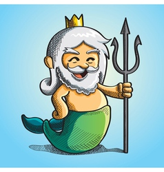 happy cute poseidon vector image