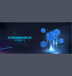 Hologram covid-19 coronavirus bacteria vector