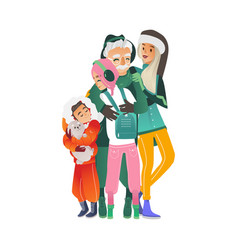 hugging family in vector image