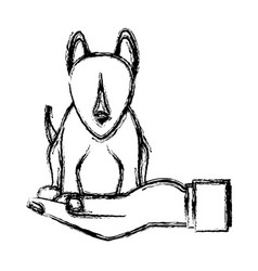 Human hand holding dog pet veterinary sketch vector