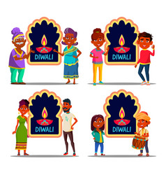 indian character celebrating diwali set vector image
