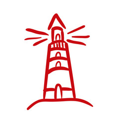 Lighthouse maritime hand draw style icon vector