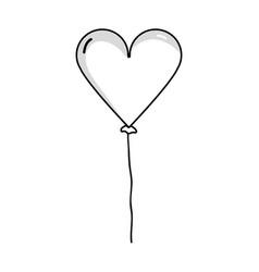 Line nice heart balloon decoration design vector