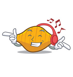 Listening music conchiglie pasta mascot cartoon vector
