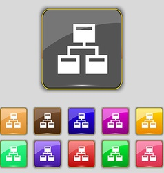Local Network icon sign Set with eleven colored vector image
