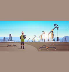 male engineer refinery worker using tablet oil vector image