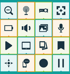 media icons set with controller tablet bookmark vector image