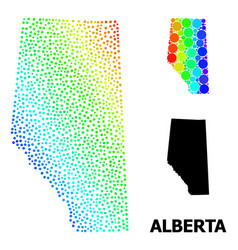 Mesh polygonal map alberta province with red vector