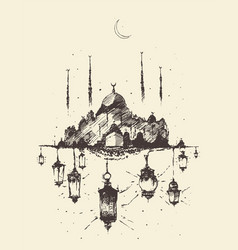 Mosque kaaba arabian lanterns ramadan vector