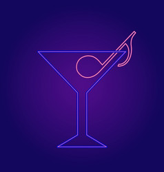Neon cocktail with music note vector