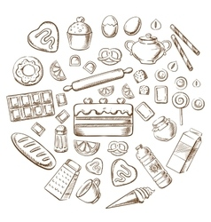 Pastry dessert and bakery sketch icons vector image