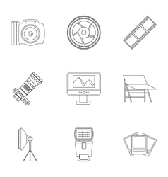 Photographing icons set outline style vector
