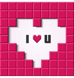 Pink mosaic heart card vector