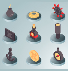 Piracy color isometric icons vector