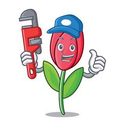 Plumber tulip mascot cartoon style vector