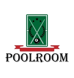 Poolroom and billiards emblem vector image
