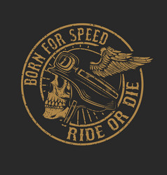 Racer skull in winged helmet isolated on dark vector