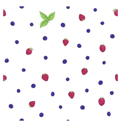 Raspberry blueberry pattern leaves vector