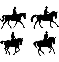 riding horses silhouettes set vector image