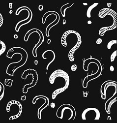 Seamless patern hand drawn question marks on vector