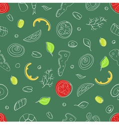 Seamless pattern of ingredients for pizza vector