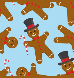 seamless pattern with gingerbread cookie vector image