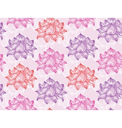 Seamless pattern with lotus flowers - vector