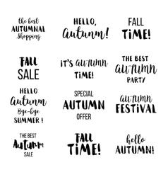 Seasonal autumn lettering Autumn typographic and vector