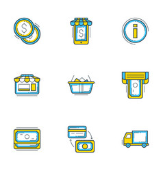 set 9 flat line business icons shopping and vector image