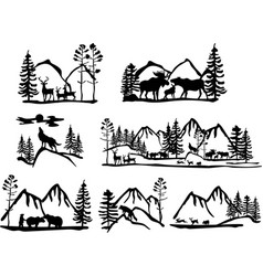 set different silhouettes landscape with vector image